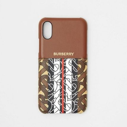 Burberry スマホケース・テックアクセサリー BURBERRY Leather and Monogram Stripe iPhone X/XS ケース(2)