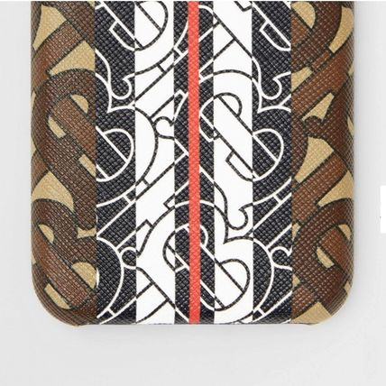 Burberry スマホケース・テックアクセサリー BURBERRY Leather and Monogram Stripe iPhone X/XS ケース(3)