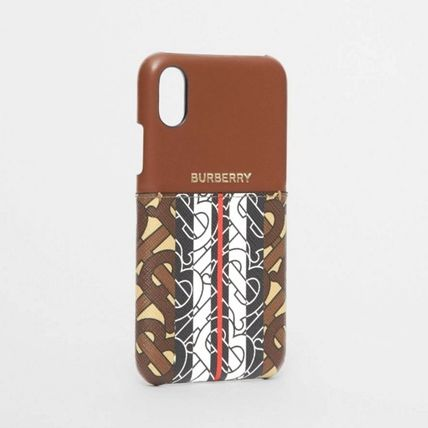 Burberry スマホケース・テックアクセサリー BURBERRY Leather and Monogram Stripe iPhone X/XS ケース(4)