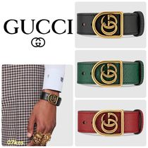 【GUCCI 】Bracelet in leather with Double G