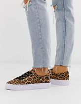 ASOS DESIGN Wide Fit Dusty lace up trainers in leopard