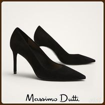 MassimoDutti♪BLACK SUEDE HIGH HEEL COURT SHOES