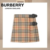 【Burberry】Vintage Check チェック ウールスカート 3Y-14Y