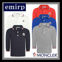 MONCLER 19AW☆ロゴ付きBabyライントリム長袖ポロシャツ 3M-3Y