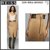 【海外限定】REISS スカート☆BRYN SATIN BELTED MIDI SKIRT