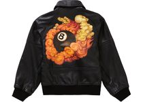 Martin Wong x Supreme Schott 8-Ball Leather Varsity Jacket