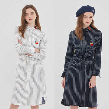 ROMANTIC CROWN ワンピース ROMANTIC CROWN★シャツワンピース GNAC STRIPE SHIRT DRESS 2色