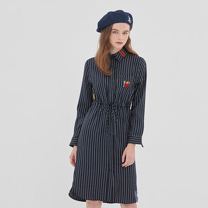 ROMANTIC CROWN ワンピース ROMANTIC CROWN★シャツワンピース GNAC STRIPE SHIRT DRESS 2色(2)