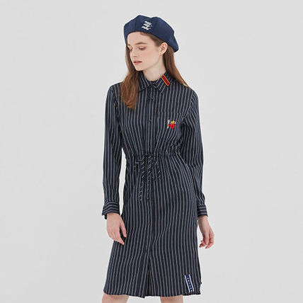 ROMANTIC CROWN ワンピース ROMANTIC CROWN★シャツワンピース GNAC STRIPE SHIRT DRESS 2色(3)