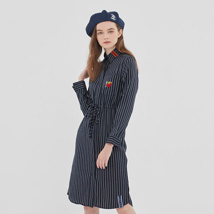 ROMANTIC CROWN ワンピース ROMANTIC CROWN★シャツワンピース GNAC STRIPE SHIRT DRESS 2色(4)