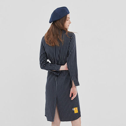 ROMANTIC CROWN ワンピース ROMANTIC CROWN★シャツワンピース GNAC STRIPE SHIRT DRESS 2色(5)