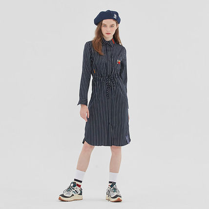ROMANTIC CROWN ワンピース ROMANTIC CROWN★シャツワンピース GNAC STRIPE SHIRT DRESS 2色(6)