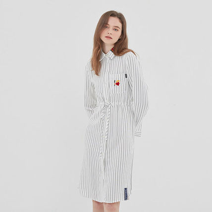 ROMANTIC CROWN ワンピース ROMANTIC CROWN★シャツワンピース GNAC STRIPE SHIRT DRESS 2色(15)