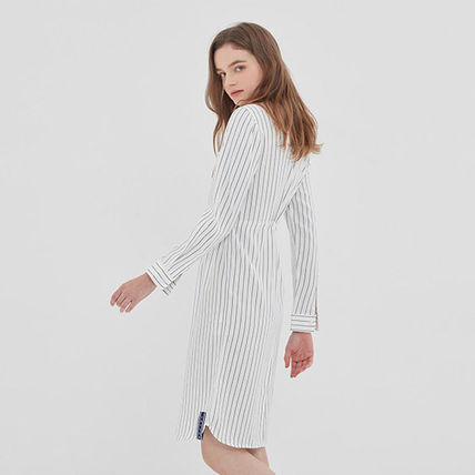 ROMANTIC CROWN ワンピース ROMANTIC CROWN★シャツワンピース GNAC STRIPE SHIRT DRESS 2色(16)