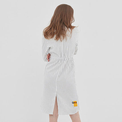 ROMANTIC CROWN ワンピース ROMANTIC CROWN★シャツワンピース GNAC STRIPE SHIRT DRESS 2色(17)