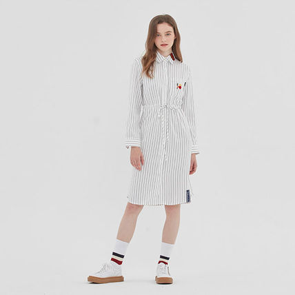 ROMANTIC CROWN ワンピース ROMANTIC CROWN★シャツワンピース GNAC STRIPE SHIRT DRESS 2色(18)