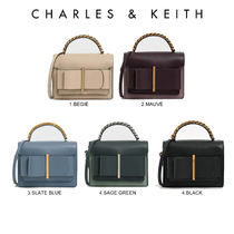 【Charles & Keith】CHUNKY METAL TOP HANDLE BOW FLAP BAG