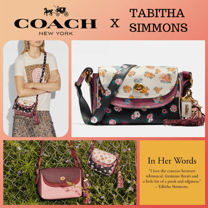 ★COACH x Tabitha Simmons★Crossbody17 Meadow Rose Print☆