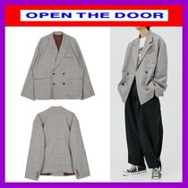 [OPEN THE DOOR]  daddy-fit check double jacket /追跡付