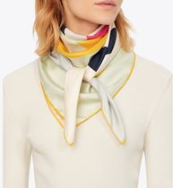 Tory Burch COLOR-BLOCK LOGO SILK SQUARE SCARF