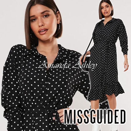 Missguided ワンピース ★MISSGUIDED-小粒ドット柄♪裾フリル黒フレアワンピース★