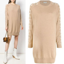 FE2612 CASHMERE SWEATER DRESS WITH GRILLE-ROYALE MOTIEF