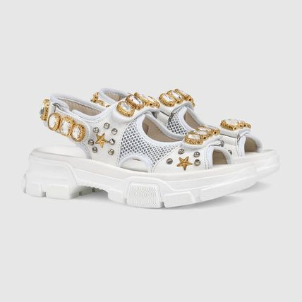 GUCCI シューズ・サンダルその他 【関税込】2019AW GUCCI Leather and mesh sandal with crystals(3)