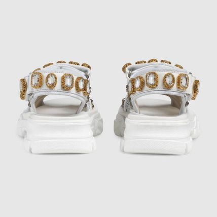 GUCCI シューズ・サンダルその他 【関税込】2019AW GUCCI Leather and mesh sandal with crystals(4)