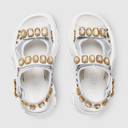 GUCCI シューズ・サンダルその他 【関税込】2019AW GUCCI Leather and mesh sandal with crystals(5)