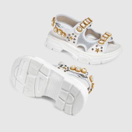 GUCCI シューズ・サンダルその他 【関税込】2019AW GUCCI Leather and mesh sandal with crystals(6)