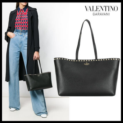 【VALENTINO】ROCKSTUD SMALL LEATHER TOTE BAG 0B71 VSF 0NO