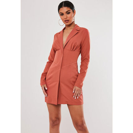 Missguided ワンピース ★MISSGUIDED-コルセット風ブレザーワンピース-RUST★(2)