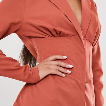 Missguided ワンピース ★MISSGUIDED-コルセット風ブレザーワンピース-RUST★(6)