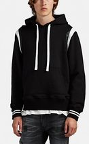 Leather-Trimmed Cotton Terry Hoodie パーカー フーディ