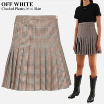 OFF WHITE   Checked Pleated Mini Skirt