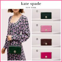 19-20AW!! 新作 ☆kate spade☆romy croc-embossed chain wallet