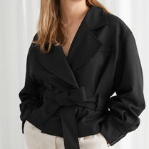 """& Other Stories"" Belted Wool Blend Trench Jacket Black"