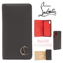CARD入付★手帳型【送込Christian Louboutin】iPhone X/XS★黒赤