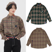 ★ROMANTIC CROWN★韓国チェックシャツOLD CHECK WIDE SHIRT 2色
