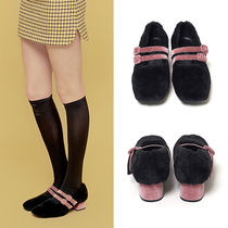 ★Margarin Fingers★韓国ファーシューズDOUBLE STRAP FUR SHOES