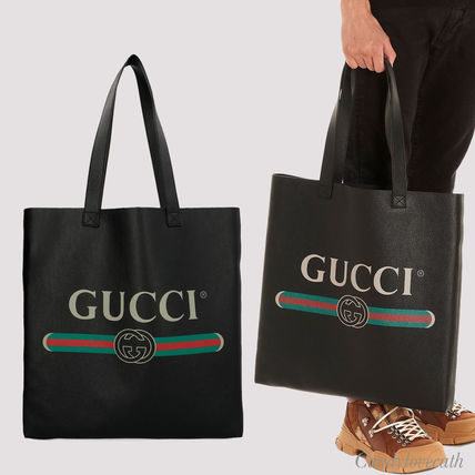 newest d21ee 26d7e GUCCI グッチ プリント レザー トートバッグ