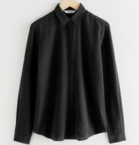 """""""& Other Stories"""" Straight Fit Silk Shirt Black"""