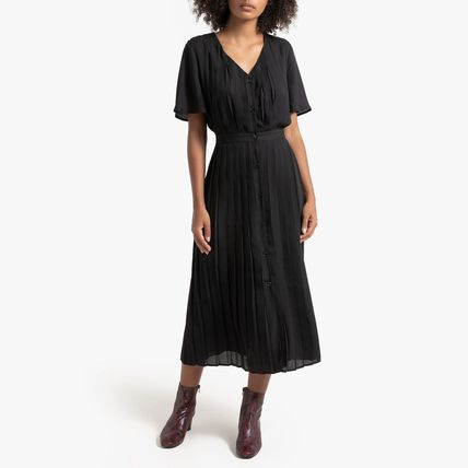 LA Redoute ワンピース La Redoute★Pleated and Buttoned Long Dress