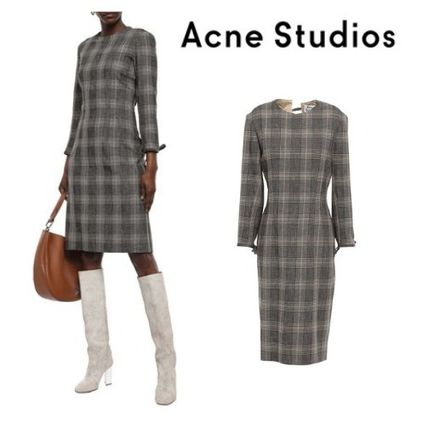 Acne ワンピース Acne Studios☆Prince of Wales checked wool & cotton ドレス
