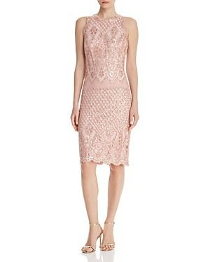 TADASHI SHOJI ワンピース Tadashi Shoji Sequin-Embroidered Floral Sheath Dress