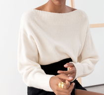 """""""& Other Stories"""" Boatneck Knit Sweater White"""