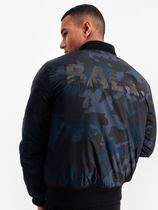 ☆BALR☆GUN METAL BADGE CAMO BOMBER JACKET NAVY