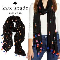 SALE! KATE SPADE flock party tassel trim scarf パロット柄