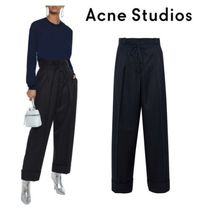 Acne Studios☆Tien tie-front cropped pinstriped ウールストレートパンツ