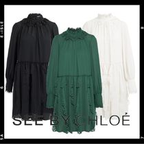 【See by Chloe】Crepe dress with cut-out